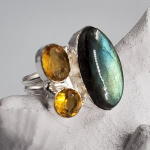 Silver Ring Labradorite Citrine  Natural stone